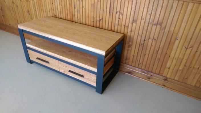Meuble tv bois m tal meuble t l style industriel bois m tal - Table basse tele ...