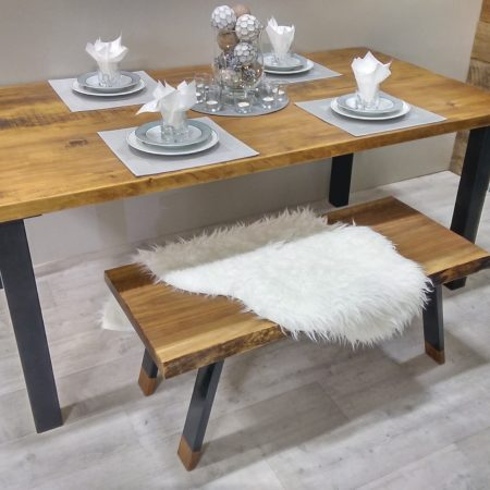 table de cuisine sur mesure bois et bois m tal table d ner. Black Bedroom Furniture Sets. Home Design Ideas