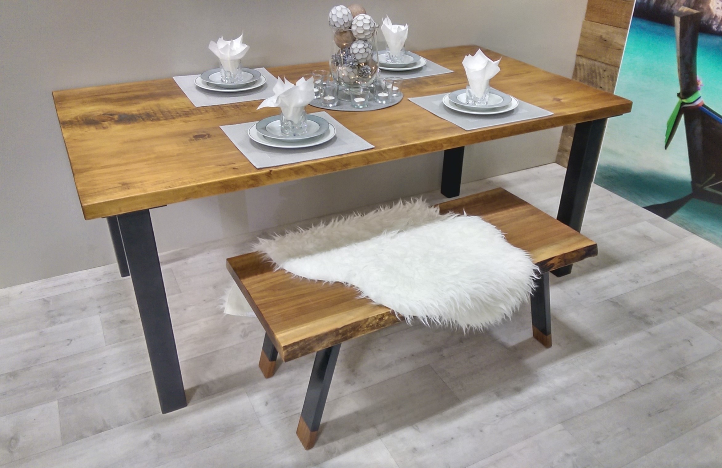 Table de cuisine rustika en bois m tal table d ner - Table cuisine pin massif ...