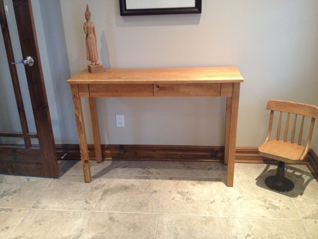 Table console en pin massif avec 2 tiroirs meubles sur mesure tout style