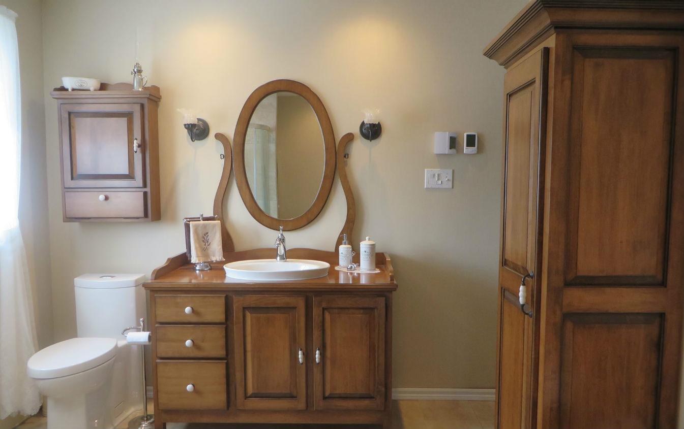 Vanité de salle de bain, armoire, miroir et pharmacie en bois massif %