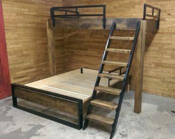 Lit superposé de style industriel bois métal sur mesure