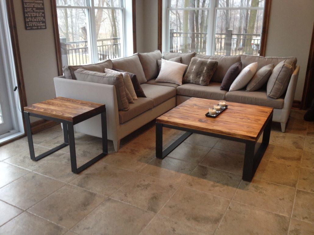 Meuble sur mesure, table de salon en bois massif et métal style industriel par l'ébénisterie lanaudière
