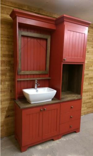Vanité salle de bain avec lavabo vasque finition peinture de lait fabriquer sur mesure par L'Ébénisterie de Lanaudière