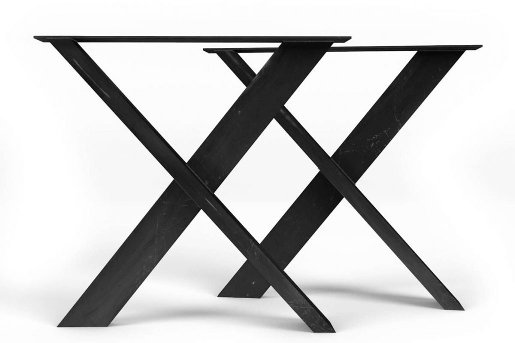 Base de table en X en métal brute pour table de cuisine fabriquer sur mesure par l'ébénisterie de lanaudière