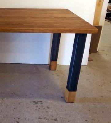 Patte de table carré en bois métal avec insertion en pin ebenisterie lanaudiere