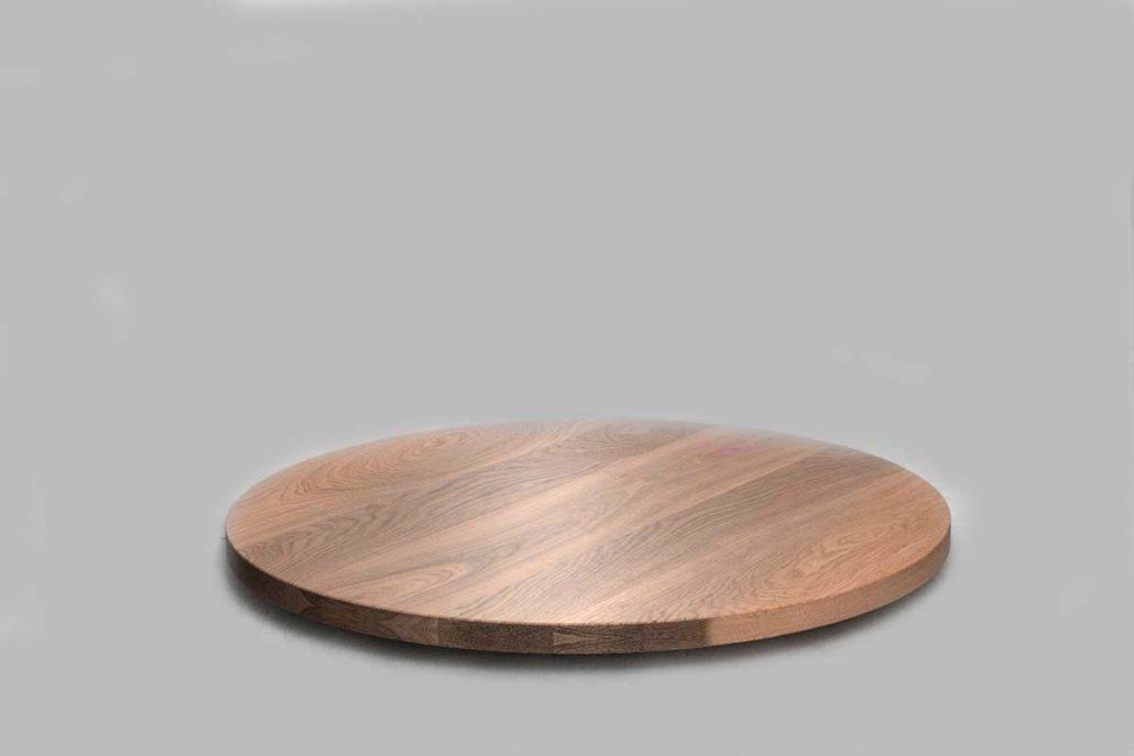 Plateau de table en chêne oval en bois massif rondefabrication sur mesure par l'ébénisterie de Lanaudière au quebec